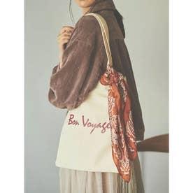 【バッグ】スカーフ付きロゴトートバッグ (オフホワイト)