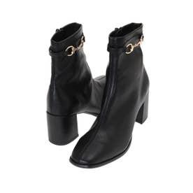 【ブーツ】フェイクレザーピットショートブーツ (ブラック)