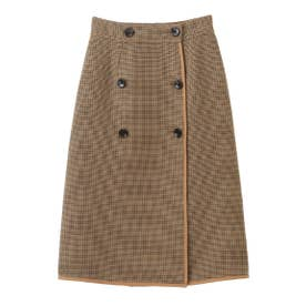 【スカート】リバーシブルチェックタイトスカート (キャメル)