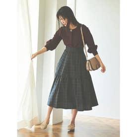 【スカート】チェックフレアスカート (ネイビー)