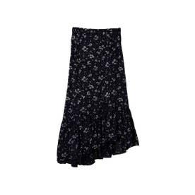 【スカート】インド花柄プリントアシメスカート (ブラック)