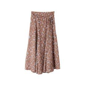 【スカート】フラワープリントサテンスカート (ブラウン)