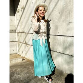 【スカート】綿麻スラブローンロングスカート (ライトグリーン)