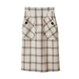 【スカート】ビックポケットチェックタイトスカート (オフホワイト)