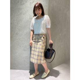 【スカート】ビックポケットチェックタイトスカート (イエロー)