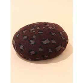 【ベレー帽】ひょう柄ベレー帽 (ブラウン)
