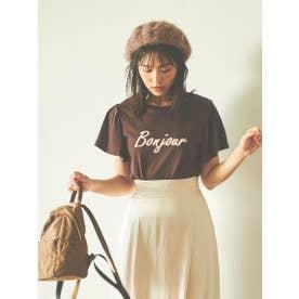 【Tシャツ】BonjourフレアスリーブTシャツ (ブラウン)