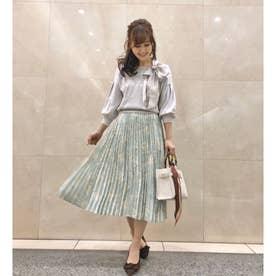 【スカート】小花柄プリーツスカート (ライトグリーン)