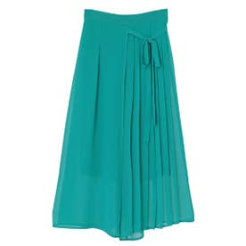 【パンツ】スカート見えプリーツワイドパンツ (グリーン)