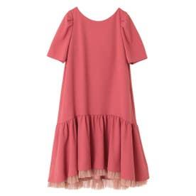 【ワンピース】裾チュール二重織Aラインワンピース (ローズピンク)
