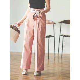 【パンツ】スカーフベルト付ワイドパンツ (ピンク)