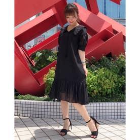 【ワンピース】インドコットン衿付きサックワンピース (ブラック)