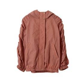 【ブルゾン】シャーリング袖フーディーブルゾン (オレンジ)