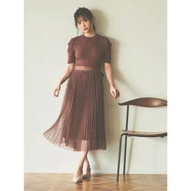 【スカート】リブフレアニットワンピース×ドットチュールスカート (ブラウン)