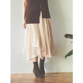 【スカート】箔プリントシアースカート (ピンク)