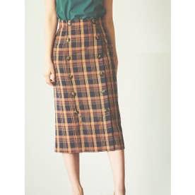 【スカート】フロント釦チェックタイトスカート (ネイビー)