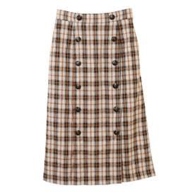 【スカート】フロント釦チェックタイトスカート (ブラウン)