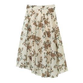 【スカート】花柄タックフレアスカート (オフホワイト)