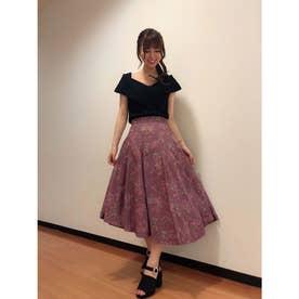 【スカート】花柄タックフレアスカート (ボルドー)