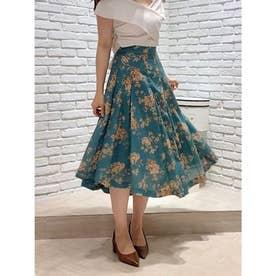 【スカート】花柄タックフレアスカート (グリーン)