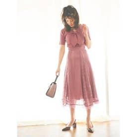 【スカート】ストライプレースフレアスカート (ピンク)