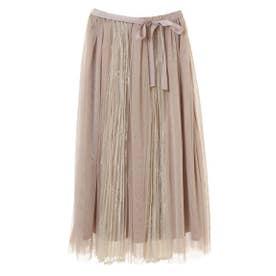 【スカート】レースプリーツ切替チュールスカート (クリームイエロー)
