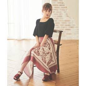 【スカート】スカーフ柄プリントスカート (ピンク)