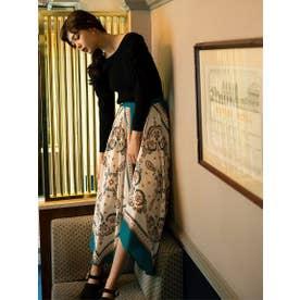 【スカート】スカーフ柄プリントスカート (グリーン)