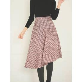 【スカート】アシンメトリーツイードフレアスカート (ピンク)