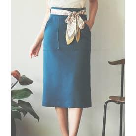 【スカート 】スカーフ付ベルトタイトスカート (モスグリーン)