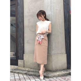 【スカート 】スカーフ付ベルトタイトスカート (キャメル)