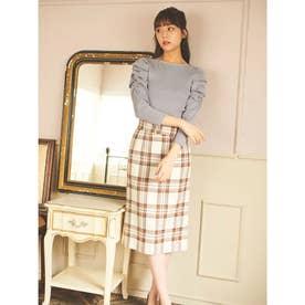 【スカート 】ベルト付チェックタイトスカート (オフホワイト)