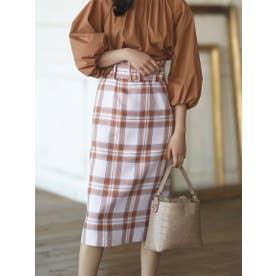 【スカート 】ベルト付チェックタイトスカート (ラベンダー)