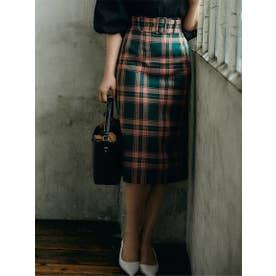 【スカート 】ベルト付チェックタイトスカート (グリーン)
