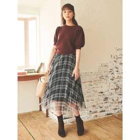 【スカート】チェックチュールプリーツスカート (ネイビー)