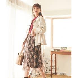 【スカート】チェックチュールプリーツスカート (ベージュ)
