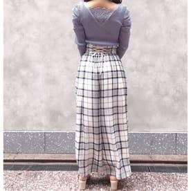 【パンツ】シアーチェックワイドパンツ (クリームイエロー)