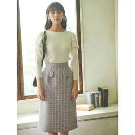【スカート 】ツイードタイトスカート (ラベンダー)