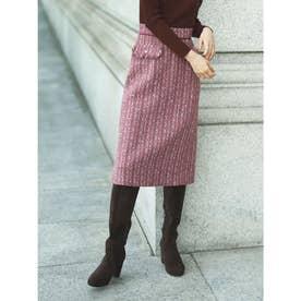 【スカート 】ツイードタイトスカート (ピンク)