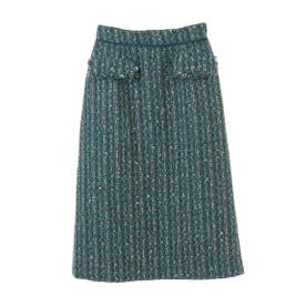 【スカート 】ツイードタイトスカート (グリーン)