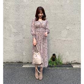 【ワンピース】ペイズリープリントワンピース (ピンク)