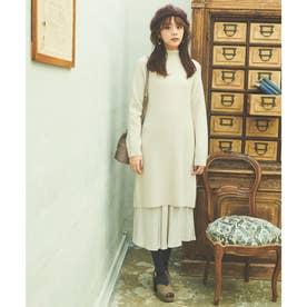 【スカート】アゼバックリボンOP×レイヤードスカート (オフホワイト)