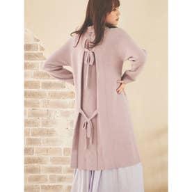 【スカート】アゼバックリボンOP×レイヤードスカート (ラベンダー)