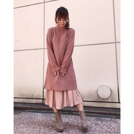 【スカート】アゼバックリボンOP×レイヤードスカート (ピンク)