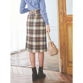 【スカート】レースアップチェックタイトスカート (オフホワイト)