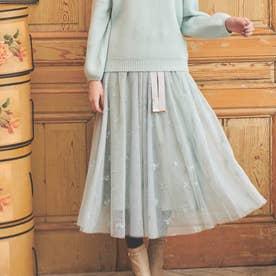 【スカート】刺繍チュールスカート (ライトグリーン)
