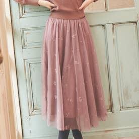 【スカート】刺繍チュールスカート (ブラウン)