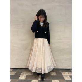 【スカート】刺繍チュールスカート (ベージュ)