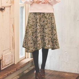 【スカート】フラワーレーススカート (カーキグリーン)