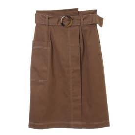 ベルト付きハイウエストタイトスカート (キャメル)